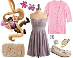 """""""Rapunzel Outfit #3 ~ This outfit is a little more dressy than the other two while still keeping things simple. The strapless light purple dress paired with a light pink cardigan achieves a girly look, complemented by the floral bag and peep-toe flats. Subtle jewelry gives the look a classic appeal. Finally, the bright flower clips are a nod to Rapunzel's signature locks."""""""
