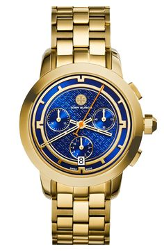 Love this showstopping blue and gold watch | Tory Burch