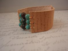 Beaded Leather Cuff by celestialdesignsNY on Etsy, $28.00