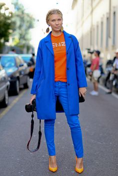 Cobalt blue and a pop of orange