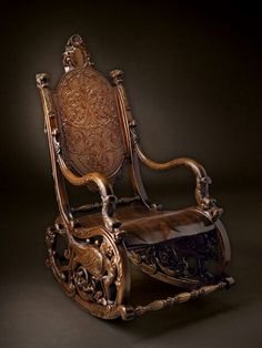 Antique Furniture •~• carved wooden rocking chair