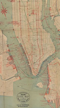 Fascinating Old Maps of Both Real and Ridiculous NYC Transit Projects | Before it had a subway, Manhattan had an extensive system of elevated (blue) and horse-drawn (red) rail lines, as depicted in this 1882 map.    NYPL  | WIRED.com