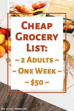Cheap grocery list for two! $50 budget for a week. Get the grocery list and weekly menu: quite healthy actually! Great ideas for saving money and eating frugal meals. Fab budget meal plan! Meal planning on a budget example - use your money to save for an emergency for pay off debt, but still eat well.   #debtfreecommunity #mealplan #mealplanning #frugalmeals #dinnerideas #freemealplan Frugal Meals, Budget Meals, Food Budget, Freezer Meals, Freezer Recipes, Budget Recipes, Freezer Cooking, Cheap Grocery List, Grocery Lists