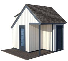 The traditional playhouse plans include a loft as well as a separate storage room on the back side. It also has an adult size door on the side. Kids Playhouse Plans, Outside Playhouse, Backyard Playhouse, Build A Playhouse, Simple Playhouse, Playhouse Ideas, Building A Shed, Building Plans, 12x24 Shed