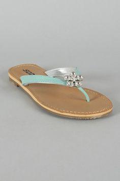 $15.60 Soda Nochi-S Snake Jeweled Thong Flat Sandal Cute for flip-flops.