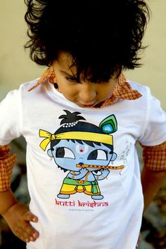 Items similar to Boys Kutti Krishna Organic Tee By Kuttiavatar on Etsy