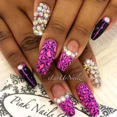 Purple and rhinestones leopard long nail design