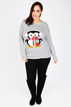 Grey Penguin With Scarf Print Christmas Jumper