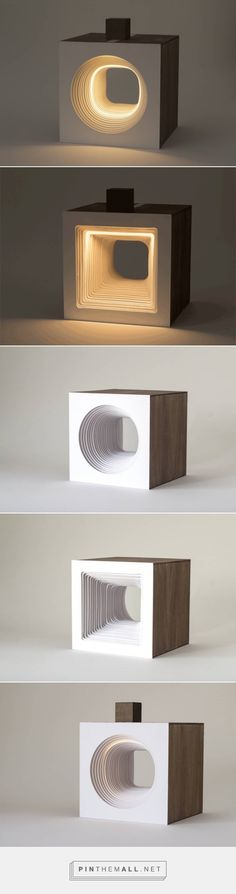 Sculptural Cube with Flowing Light – Fubiz Media - created via… Wood Projects, Woodworking Projects, Creation Deco, Ideias Diy, Led Licht, Wooden Lamp, Luminaire Design, Deco Design, Design Art