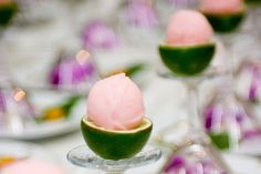 Sorbet in cut out limes.  For a party with margaritas and not enough dessert plates