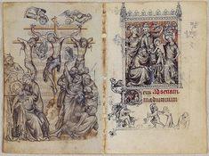 Crucifixión y Adoración de los Magos, Libro de horas de Juana d'Evreux, por Jean Pucelle, siglo XIV
