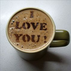 Love this.  A stencil and coco powder turns this morning ritual into a love note!  Try it with hot chocolate for the kids!