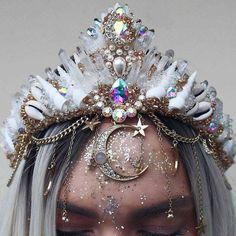Build A Crown — Chelseas Flowercrowns Crown Aesthetic, Queen Aesthetic, Cute Jewelry, Hair Jewelry, Seashell Crown, Mermaid Crown, Fantasy Gowns, Magical Jewelry, Accesorios Casual