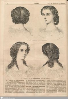 1860 Der Bazar. Hairstyles for a young lady (top) and a ball. [jrb]