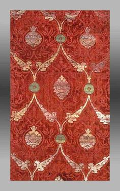 vvv silk brocade panel,16th century Turkey, museum of fine arts, boston