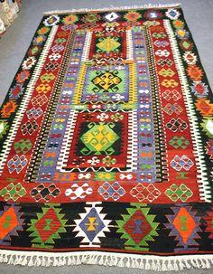 FREE SHIPPING  1960s  Eşme Kilim Rug Carpet by OkcuCarpet on Etsy