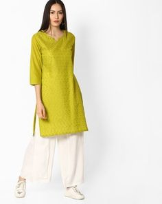 Check out Embroidered Cotton Kurta on AJIO! Mix N Match, Tunic Tops, Check, Cotton, Women, Fashion, Moda, Fashion Styles, Fashion Illustrations
