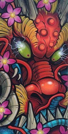 x acrylic and spray paint on gallery-wrapped Canvas. This is a one of one, original piece made by David Tevenal. Will ship boxed . Graffiti Wallpaper, Graffiti Art, Cartoon Wallpaper, Desenho New School, Japon Illustration, Japanese Tattoo Art, Samurai Art, Dope Art, Japan Art