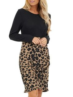 Womens Sexy Slim Dresses Plaid/Leopard Pattern Hip Dress, Long Sleeve Crew Neck Dress Ruched Hem Bodycon Short Dress, Fashion Casual Ladies Dress for Party, UK Plus Size (Green, 12 UK) Long Sleeve Short Dress, Short Mini Dress, Short Dresses, Dress Long, Plaid And Leopard, Leopard Blouse, Evening Dresses Plus Size, Brown Dress, Bodycon Dress