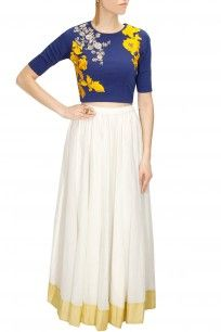 Blue dabka embroidered crop top with white long skirt
