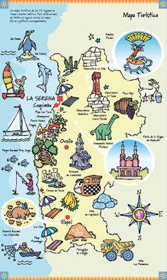 muchos dibujos!!!: Ilustraciones Chile Turístico Scrapbook, Comics, Country, Travel Ideas, Ideas Para, Travelling, Homeschool, English, Stickers