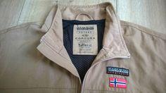 Men NAPAPIJRI GEOGRAPHIC Voyage Teflon Jacket Bomber Harrington S Brown Vintage