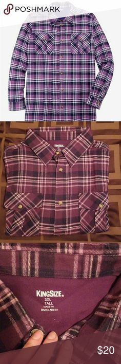 NWOT Flannel Shirt, King Size, plaid, 3xlt Lightweight Plaid Flannel Shirt in lilac plaid. King size brand. Size 3XL tall. New without tags. Never washed, never worn King Size Shirts Casual Button Down Shirts