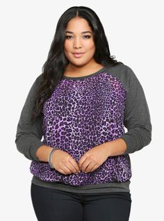 Spot on fab with our Leopard Chiffon Front Pullover....own it!