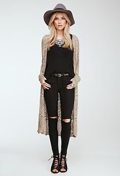 Longline Crochet Cardigan | FOREVER21 - 2000135524 open kimono in beige $29