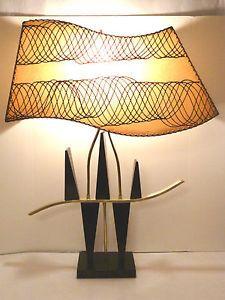 majestic lamp   MID-CENTURY-MAJESTIC-EBONY-TABLE-LAMP-FIBERGLASS-SHADE-WAVE-Z-EAMES ... Look Vintage, Vintage Design, Vintage Stuff, Funky Lighting, Vintage Lamps, Vintage Table, Mid Century Modern Lighting, I Love Lamp, Cool Lamps
