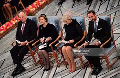 Norwegian Royals (L-R) King Harald of Norway, Queen Sonja of Norway, Crown Princess Mette-Marit and Crown Prince Haakon attend the award ceremony of the Nobel Peace Prize on December 10, 2016 in Oslo, Norway.Colombian President Juan Manuel Santos is awarded this year's Nobel Peace Prize for his efforts to bring Colombia's more than 50-year-long civil war to an end. / AFP / TOBIAS SCHWARZ        (Photo credit should read TOBIAS SCHWARZ/AFP/Getty Images)