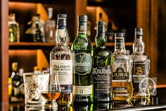 Tasting whisky-set. Whisky & Cigar Lounge at Quale Restaurant in Lodz, Poland