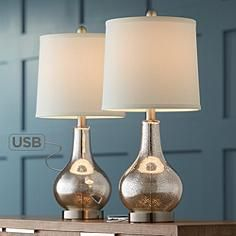 Buy Ledger Modern Accent Table Lamps Set of 2 with USB Charging Port Mercury Glass Off White Drum Shade for Living Room Family - 360 Lighting Bedside Table Lamps, Table Lamp Sets, Bedroom Lamps, Nightstand, Bedroom Ideas, Master Bedroom, Cozy Bedroom, Bedroom Lighting, Dream Bedroom