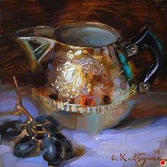 Creamer and Black Grapes by Elena Katsyura Oil ~ 6 x 6