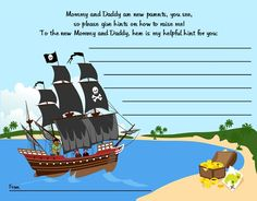 Pirate Ship - Baby Shower Notes of Advice