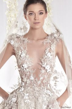 ziad nakad 2015 haute couture bridal wedding dress leaf applique plunging v neckline ball gown with pockets closeup