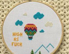 Hot Air Balloon High As Fuck 6 inch cross stitch