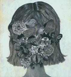 "kirgiakos: ""darksilenceinsuburbia: "" Flowerhead by Olaf Hajek (source) "" "" Art And Illustration, Kunst Poster, Vinyl Cover, Naive Art, Surreal Art, Contemporary Paintings, Art World, Printmaking, Illustrators"