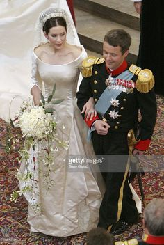 Crown Prince Frederik and Princess Mary of Denmark turn to walk up the isle of Copenhagen Cathedral after their wedding ceremony on May 14, 2004 in Copenhagen, Denmark. The romance began when Miss Mary Elizabeth Donaldson met the heir to one of Europe's oldest monarchies over drinks at the 2000 Sydney Olympics, where he was with the Danish sailing team.