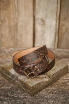 Hand crafted Belt/ Leather Belt/ Celtic Wolf by IronWoodsShop