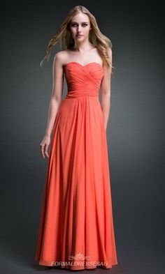 Long Strapless Sweetheart Orange Bridesmaid Dresses FDA0114