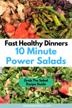 5 ideas on how to make tasty, healthy, filling power salad recipes for dinner every night. The ultimate time saver for never-boring salads. Clean Eating Diet Plan, Clean Eating Dinner, Healthy Eating Habits, Clean Eating Recipes, Eating Fast, Easy Healthy Dinners, Easy Healthy Recipes, Weeknight Dinners, Macro Food List