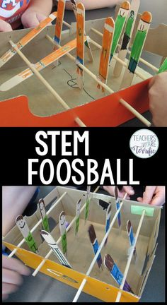 STEM Challenge made for kids in the elementary classroom as they engineer a foosball table with players competing on two teams. It's a perfect team building project with students choosing between building the playing field, the players, or decorating the model. This STEM activity was designed and tested with 4th and 5th-grade students and it's a FREEBIE. It takes only a few easy materials and a shoe box to build a foosball model and have a blast playing. Grab this free STEM Challenge now!