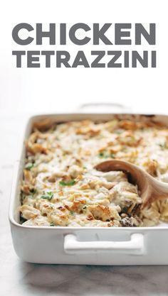Chicken Tetrazzini - roast chicken, egg noodles, garlic mushrooms, and silky creamy sauce. can't go wrong.   pinchofyum.com