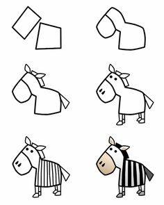 step by step how to draw a zebra