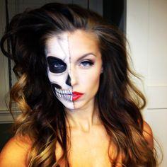 Half skeleton make up