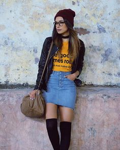 The outfit of anavbon includes black ankle boots of Studio F, black Zara's blazers, blue skirts of the brand pull&bear, yellow t-shirts of the brand and dark red Bershka's berets Fall Outfits, Dress Outfits, Cute Outfits, Fashion Outfits, Womens Fashion, Zara Blazer, Oufits Casual, Yellow T Shirt, Dressed To Kill