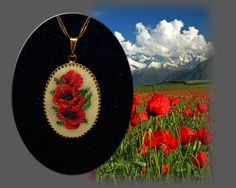 A Poppies pendant  made in Petit point technique