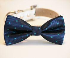 Navy Dog Bow Tie, Polka dots bow, Pet accessory, Dog wedding accessory, Dog Lovers, Navy and Tiffany blue