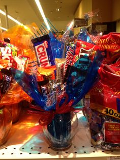 Great little gift idea put candy bars on sticks.  Or good centerpieces